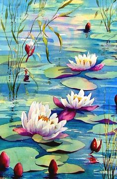 A place for everything to do with watercolor painting. Water Lilies Painting, Lotus Painting, Lily Painting, Watercolor Flowers, Watercolor Paintings, Lotus Flower Art, Acrylic Art, Painting Inspiration, Art Drawings