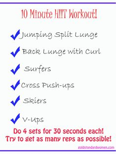 10 Minute HIIT Workout | goldstandardwomen.com AWESOME routine. Will do again