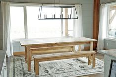 Beginner Farm Table (2 Tools + $50 Lumber) | Ana White Farm Table Plans, Farm Table With Bench, Farmhouse Table Plans, Farm Tables, White Farmhouse, Farmhouse Chic, Rustic Dining Benches, Wooden Dining Tables, Dining Table Bench