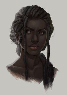f portrait NPC baewall: My new norn necro, Sivrunn. Black Girl Art, Black Women Art, Black Art, Art Girl, Fantasy Inspiration, Character Design Inspiration, Story Inspiration, Fantasy Characters, Female Characters