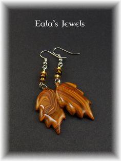 Faux wood leaves earrings by Shatiel85.deviantart.com on @DeviantArt