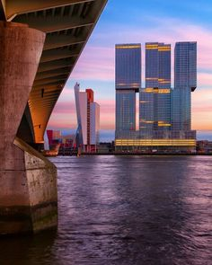 The Rotterdam at Evening (seen from the Eramus Bridge) by Paul Kampman on canvas, wallpaper and more - Architecture Rotterdam Architecture, Amazing Architecture, Rotterdam Netherlands, Rem Koolhaas, World Cities, City Photography, Places To See, Amsterdam, The Good Place