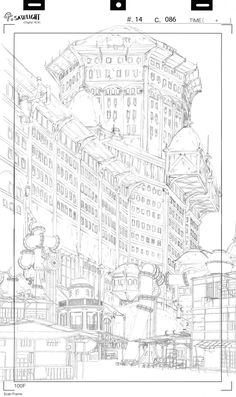 Yann Le Gall — Background layouts from Basquash! Comic Book Background, Background Drawing, Animation Background, Layout Design, Bg Design, Architecture Drawing Art, Perspective Art, Fantasy Concept Art, Landscape Drawings