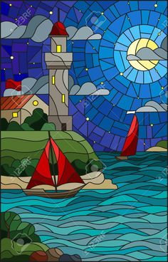 Illustration in stained glass style with sea view, three ships. Illustration in stained glass style with sea view, three ships Glass Painting Designs, Stained Glass Designs, Stained Glass Patterns, Mosaic Patterns, Stained Glass Quilt, Stained Glass Panels, Mosaic Art, Mosaic Glass, Night Clouds