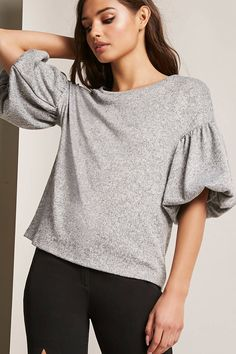 Marled Balloon Sleeve Top - Women - New Arrivals - 2000257829 - Forever 21 Canada English Trendy Hoodies, Loungewear Outfits, Iranian Women Fashion, Boho Fashion, Fashion Outfits, Shirt Refashion, Casual Street Style, Blouse Styles, Tank Top Shirt
