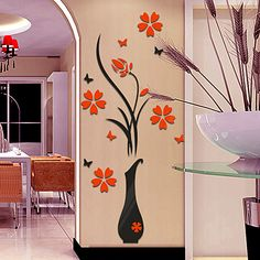 DIY Vase Flower Tree Crystal Arcylic Wall Stickers Decal Home Vinyl Decor Wall Stickers Hallway, Wall Stickers Home Decor, Wall Decals, Vinyl Decor, Tv Decor, Vinyl Art, Decor Mural, Home Decor Vases, Diy Home Decor