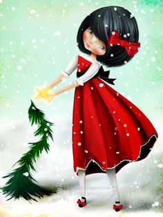 "Art Print - ""Crooked"" - Medium Sized Giclee Print of Jessica Grundy Illustration - Little Christmas Tree Girl - Holiday Print 8.5x11 or 8x10. $15.00, via Etsy."