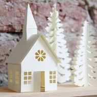 We love this!  Winter Christmas village paper decoration, 3D paper church with Christmas tree