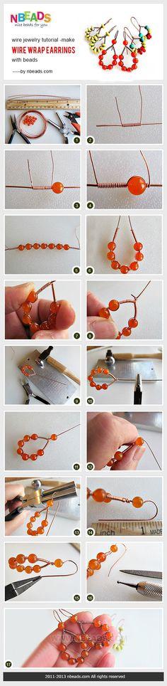 wire jewelry tutorial - make wire wrap earrings with beads ~ Wire Jewelry Tutorials Wire Wrapped Earrings, Diy Earrings, Jewelry Making Tutorials, Beading Tutorials, Wire Crafts, Jewelry Crafts, Jewelry Ideas, Wire Jewelry, Beaded Jewelry