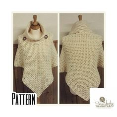 This listing is for the Crochet PATTERN only. Written instructions provided as a PDF digital download to create a cowl neck poncho. This pattern is written for you to be able create child size 2-16 and adult women size 6-16 poncho. Materials List: Loops and Threads Impeccable