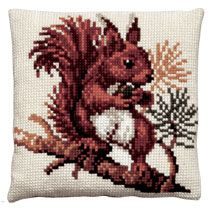 Red squirrel cross stitch cushion front kit