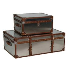 Set of 2 Stainless Steel Trunks