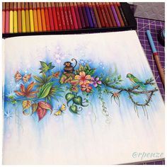 Minha pagina de abertura 😍 do novo Livro da Johanna Basford - Ivy and the Inky Butterfly Scary Coloring Pages, Coloring Book Art, Adult Coloring Pages, Renoir, Magical Jungle Johanna Basford, Johanna Basford Coloring Book, Art Sketches, Colored Pencils, Instagram