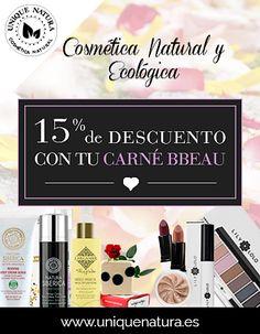 Para todas las amantes de la cosmética natural ¡Llega a BBEAU @uniquenatura!  Ahora con tu Carné BBEAU disfruta de un 15% de descuento en su amplio catálogo de los mejores cosméticos y maquillaje 100% naturales, ecológicos, certificados y libres de tóxicos...Porque sentirte guapa de forma saludable cuesta muy poco... Te dejamos toda la información en el enlace: https://www.bbeau.es/producto/unique-natura/