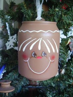 Gingerbread Mini Pop Can Ornament by CyndiMacsNickKnacks on Etsy Christmas Items, Holiday Ornaments, Christmas Projects, Christmas Holidays, Christmas Decorations, All Things Christmas, Gingerbread Crafts, Christmas Gingerbread, Soda Can Crafts