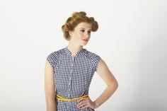 Blue Gingham Pleat Yoke Dress - Organic Cotton - 50s Pin Up Style Dress - Occasion Dress - Ethical Fashion