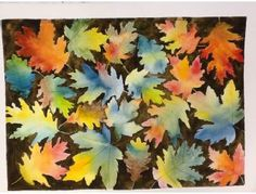 6th Grade Class Art Project -Section 3 -  Watercolor Leaf Painting