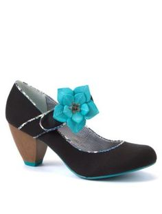 Ruby Shoo Black Liza Corsage Court Shoes