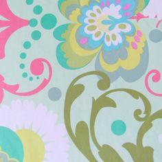 Laminated Fabric- Amy Butler Paradise Garden Fabric in Mint- 1/2 yard. $8.00, via Etsy.