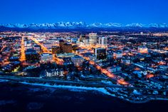 Downtown Anchorage Alaska   spectacular early spring sunset over downtown Anchorage