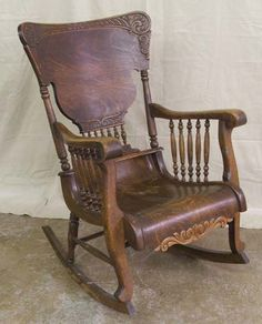 Antique Tiger Oak Rocking Chair : Lot 5204 Just love these beautiful old chairs.great for relaxing with an irish coffee on a cold winters evening Old Rocking Chairs, Old Chairs, Antique Chairs, Vintage Chairs, Vintage Rocking Chair, Victorian Furniture, Victorian Decor, Vintage Furniture, Chair Pictures