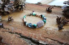Amethyst stone bracelet Chrysocolla beads Pearl by TanBorzoShop