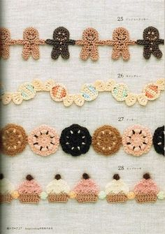 Crochet Garlands, Although I was thinking that these would be cute for making individually and putting on hats or as decorations for gifts at Christmas, etc.  Instructions are also on the site, in Japanese patterns.
