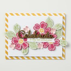 We just love the new set, Birthday Blossoms.  This celebrate card is just so pretty! - Stampin' Up!