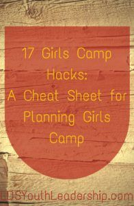 I just found the mother lode of ideas for planning girls camp! This will help so much!