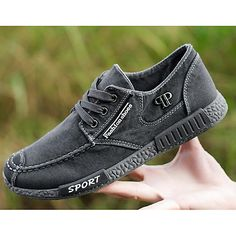 Men's Shoes Denim Spring Fall Comfort Sneakers Walking Shoes Stitching Lace  for Casual Gray Blue 2018