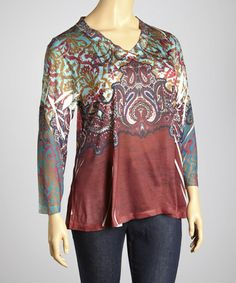 Take a look at this Burgundy & Olive Paisley Creation V-Neck Top - Plus by Sienna Rose on #zulily today!