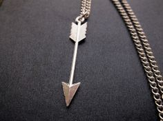 Large Silver Tone Arrow Charm Necklace by LilliRoseCreations, £3.50