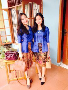 Me and my lil sister wearing kutu baru kebaya