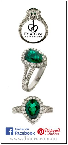 Another new and elegant design passed by my camera yesterday.  It is a lovely pear shape emerald, surrounded by fine white diamonds.  Diamonds are also set in the split band and the coronet and give this piece a luxe, indulgent and stylishly antique feel.  See more Dia Oro Jewellers Dress jewellery at: http://www.diaoro.com.au/rings/