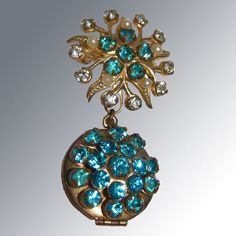 Turquoise Rhinestone and Faux Pearl Locket Pin