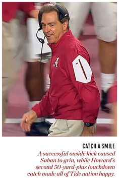 Nick Saban Smiles! | pic from Sports Illustrated | National Championship game…
