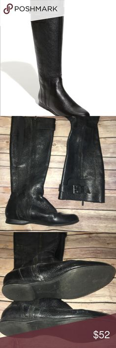 "Enzo Angiolini Zayra Black - EUC! Sophisticated riding boot with a rounded toe is fashioned from pebbled leather and cinched at the top with a belt. Full side zip closure; elastic gusset. Approx. boot shaft height: 16"" with 15"" calf circumference. Leather upper/synthetic lining/rubber sole. By Enzo Angiolini; imported. Enzo Angiolini Shoes"