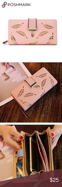 🆕 Pink Gold Leaf Wallet Crafted with soft nubuck leather material Hollow gold leaf design on pink wallet. 11 Card Slots, 1 ID Window 2 Compartments, 1 Zipper Pocket 3 Concealed Compartments Bags Wallets