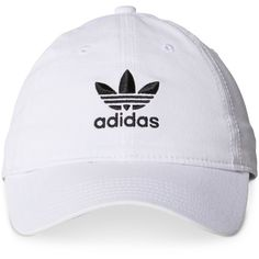 adidas Originals Cotton Relaxed Cap ($24) ❤ liked on Polyvore featuring accessories, hats, white, white cap, bills hat, adidas cap, adidas and cap hats