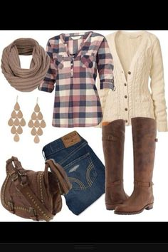 Fall outfit Cute plaid shirt and scarf.
