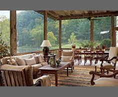 Suzanne Kasler : Smokey Mountains cabin : The Enchanted Home: Dream screened-in porch. (Screened cabin on the edge of the lake) House, Home, Lake Cottage, Lake House, Rustic Living, Outdoor Living Space, Enchanted Home, Architectural Digest, Rustic House