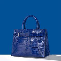 The limited edition RK40 handbag. Alligator and other exotic skins. Cobalt blue.