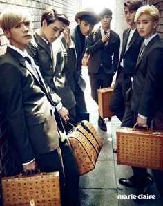 Luhan, Kai, Tao, Chen, Sehun, Suho - Marie Claire Magazine October Issue '14