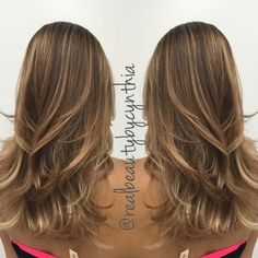 Fudge toffee brown to honey blonde ombre with caramel balayage melts