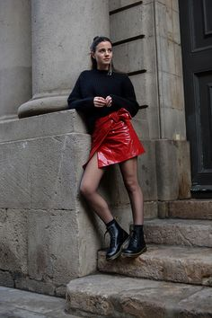 What´s With The Red Patent Skirt?