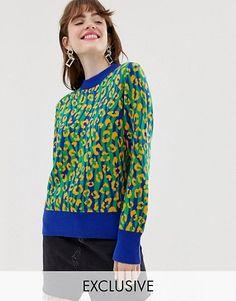 954e26e8e Monki knitted jumper in leopard print colour block Suspensórios, Suéter  Masculino, Bloqueio De Cor