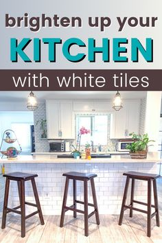 Refresh your kitchen with classic white tiles. Learn how you can tile on your own and save money on labor. Easy backsplash installation guide with tips and tricks. White Kitchen, Diy Kitchen Remodel, Easy Backsplash, White Kitchen Remodeling, Subway Tile Backsplash Kitchen, Kitchen Remodel, Kitchen, Diy Kitchen Backsplash, Diy Decor