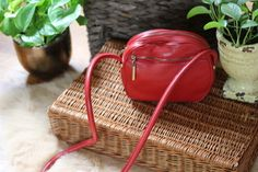 Vintage red leather Aigner satchel $28 | Miss Molly Vintage