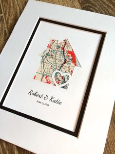Personalized Home Map Matted Gift First Home Gift by HandmadeHQ