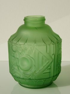 Sold *Belgium* Scailmont designed by Henri Heemskerk green vase from about 1925.